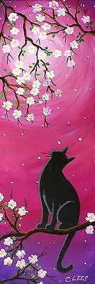 """4""""x12"""" Original Painting, Black Cat in Cherry Blossom Tree, on Stretched Canvas"""