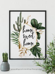 Boho Desert Cactus Print Home Sweet Home Printable Art Print Desert Cactus, Cactus Print, Online Printing Services, Art Plastique, Watercolor Print, Wall Prints, Printable Wall Art, Wall Art Decor, Farmhouse Decor