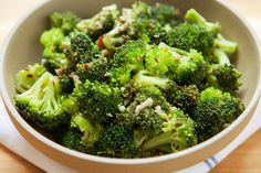 """This salad is made from uncooked broccoli tossed with an assertive garlic, sesame, chile and cumin-seed vinaigrette slicked with good extra-virgin olive oil and red wine vinegar The acid """"cooks"""" the florets a little as ceviche does fish After an hour, the broccoli softens as if blanched, turning bright emerald, and soaking up all the intense flavors of the dressing"""