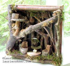 Twig Woodland Fairy House Nature Art Handmade door BetweenTheWeeds