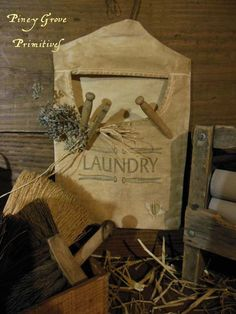 PRIMITIVE INSPIRED LAUNDRY CLOTHES PIN BAG DECORATIVE