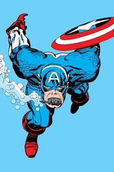 Captain America (Steve Rogers) by Jack Kirby Marvel Comic Universe, Marvel Art, Marvel Heroes, Marvel Comics, Old Comic Books, Comic Book Artists, Comic Book Covers, Captan America, Jack Kirby Art