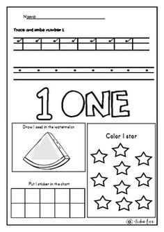 I Can Count To Ten Pack Number Recognition Coloring Drawing Sticker Worksheet Correspondence