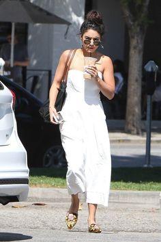 Actress Vanessa Hudgens wearing Alberta Ferretti sandals while grabbing #coffee. #Facebook #streetfashion