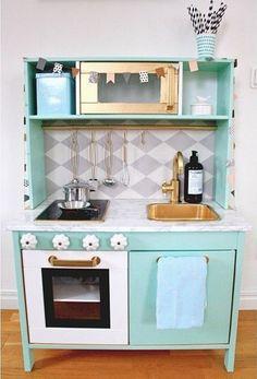 Ikea Duktig play kitchen makeover, mint