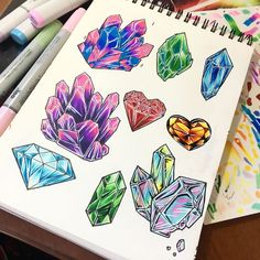 47 Ideas Drawing Art Sketches Artsy For 2019 Art Tutorials, Drawing Tutorials, Art Sketches, Art Drawings, Gem Drawing, Crystal Drawing, Cristal Art, Crystal Tattoo, Book Of Shadows
