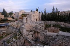 The ruins of a Byzantine Church, adjacent to the site of the Pool of Bethesda at the compound of the Roman Catholic Church of Saint Anne located in Via Dolorosa in the Muslim Quarter old city East Jerusalem Israel - Stock Image