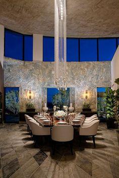 Unique dining room #lighting #blue #modern #neutral