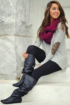 Grey sweater with elbow patches, burgundy scarf, black tights and black riding boots. Sweater weather! Cute fall outfit