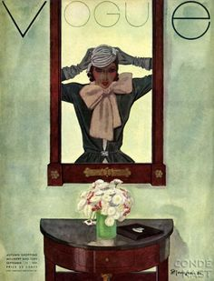 ⍌ Vintage Vogue ⍌ art and illustration for vogue magazine covers - September, 1921 - Pierre Mourgue.