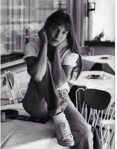 """""""I feel most comfortable in an old pair of jeans, Converse, and a man's jersey. My best friend cuts my hair with kitchen scissors."""" - Jane Birkin"""