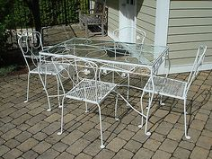 Details About John Salterini Wrought Iron Table And 4 Chairs Patio Set Mid Century 1940 S