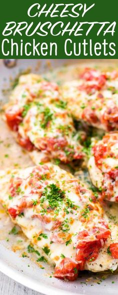 QUICK and EASY cheesy bruschetta chicken cutlets! Ready in 15 MINUTES flat. Canned tomatoes, garlic, mozzarella and parmesan. Gluten-free.