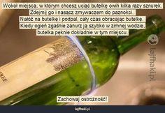 Jak przeciąć szklaną butelkę? - Wokół miejsca, w którym chcesz uciąć butelkę owiń kilka razy sznurek. Zdejmij go i nasącz zmywaczem do pazno... Paper Art, Life Hacks, Diy And Crafts, Glass, Papercraft, Drinkware, Corning Glass, Lifehacks, Barware
