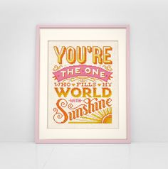 You Fill My World With Sunshine - Cross Stitch Pattern (Digital Format - PDF)