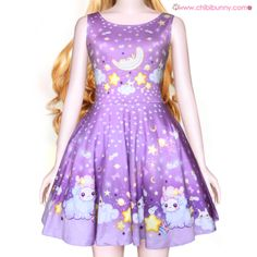 Shooting star alpaca - Cute kawaii skater dress - SD11