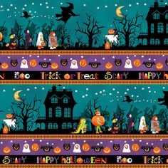 Fat Quarter Spooky Shadows  Trick Or Treat  Halloween Cotton Quilting Fabric