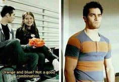 Lydia judging Derek's fashion faux pas:o cousin miguel. .. 21 JOKES ONLY TEEN WOLF FANS WILL FIND FUNNY
