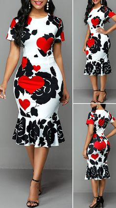 Round Neck Rose and Heart Print Dress – Christmas Fashion Trends Short African Dresses, Latest African Fashion Dresses, African Print Fashion, Ankara Fashion, Africa Fashion, African Prints, African Fabric, Short Sleeve Dresses, Dresses With Sleeves