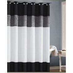 White, Black, and Silver/Gray Shower Curtain with Sequins #DuckRiver #Luxe
