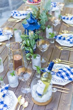 Dinner Party Tablescape Inspiration in Blue, Gold & White - dinner party tablescape on a farm table - Dinner Party Decorations, Decoration Table, Birthday Decorations, Party Themes, Party Ideas, Dinner Themes, Home Renovation, Fashionable Hostess, Bbq