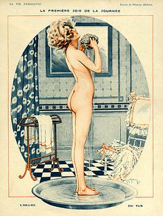 La Vie Parisienne Magazine plate Image Courtesy of The Advertising Archives: http://www.advertisingarchives.co.uk Vintage, illustrations, covers, artwork, Retro, French magazines, Art Deco, Art Nouveau, saucy, erotica, nudes, naked, bathing, 1910s, Maurice Milliere, washing