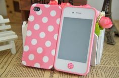 Lovely Pink + White Dot Pattern TPU Back Case Cover for iPhone 4/4S - Cheap iPhone 4/4S Cases - iPhone 4/4S Cases - iPhone Cases