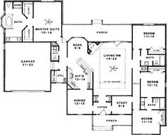 A 4 Bedroom, 3 Bath House Plan. Ask us about customization!