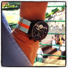 The 24 Horas de Le Mans were a week ago, but this Maurice de Mauriac Modern Chronograph Le Mans on a Le Mans NATO strap sure looks as great in the Wimbledon tennis environment as it does at the races!