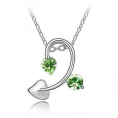Fancy 18k White Gold Plated Peridot Green Swarovski Austrian Crystal Elements Leaf Vine Charm Pendant Necklace Elegant Silver Color Crystal Fashion Jewelry P9895 Starjay Austrian Crystal Necklace, http://www.amazon.com/dp/B007QNZQQC/ref=cm_sw_r_pi_dp_K0GBqb0X2ZSRH