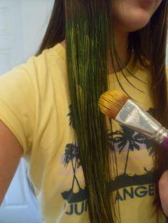 Temporary hair dye using face paint