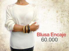 Blusa beige 3/4 encaje $60.000