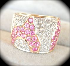 Stunning 18K Gold Pink Sapphire Diamond Wide Band Ring from Bird on a Wire Antiques at RubyLane.com