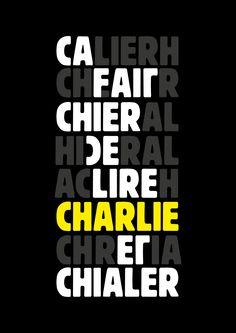 Poster for Charlie Hebdo.  Charlie, j'écris ton nom ! 3 affiches avec ces 7 lettres pour partager notre colère et manifester notre espoir ce dimanche...   Les fichiers HD sont ici : http://www.grapheine.com/divers/affiches-anagrammes-pour-charlie  #jesuischarli