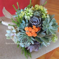 Succulent bouquet is created with one dozen small succulents and kalochoe blooms. Bridal Bouquet Blue, Flower Girl Bouquet, Lavender Bouquet, Diy Wedding Bouquet, Bridesmaid Bouquet, Blue Bridal, Succulent Corsage, Succulent Boutonniere, Colorful Succulents