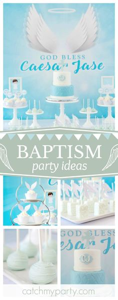Don't miss this beautiful Angel Baptism. The cake is gorgeous!! See more party ideas and share yours at CatchMyParty.com