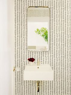 We're seeing a lot of wall treatments that look hand-drawn (or hand-stamped).  And we're loving it!  --LYC