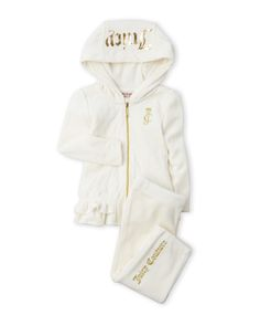 Juicy Couture (Infant Girls) Two-Piece Diamond Quilted Velour Hoodie & Pants Set