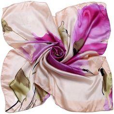 Elegantná dámska hodvábna šatka s maľbou fialových kvetov