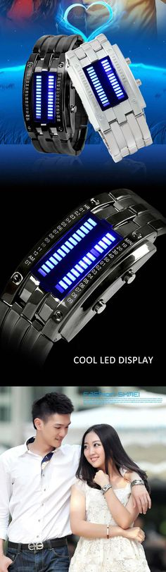 Date Binary Digital LED Bracelet Watch for Men with Two Lines LED Display - BLACK