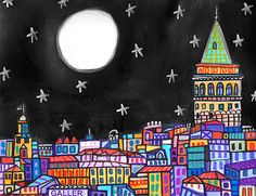 Istanbul by Heather Galler Original Painting Abstract Folk Art Turkey City Sky Ruins Skyline