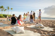 beach mats and pillows