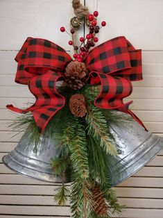 this adorable galvanized bell swag to your farmhouse country christmas decor. Add this adorable galvanized bell swag to your farmhouse country christmas decor.,Add this adorable galvanized bell s. Burlap Christmas, Diy Christmas Tree, Christmas Bells, Outdoor Christmas, Christmas Projects, Christmas Christmas, Primitive Christmas, Father Christmas, Christmas Wreaths To Make