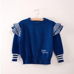 Bobo Choses Nautical Blue Ruffles Knitted Jumper