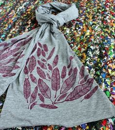 Screen Printed Jersey Scarf in Athletic Gray by MichelleBrusegaard, $25.00