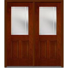 Milliken Millwork 72 in. x 80 in. Classic Clear Glass PIM 1/2 Lite Finished Oak Fiberglass Double Prehung Front Door-Z005583L - The Home Depot