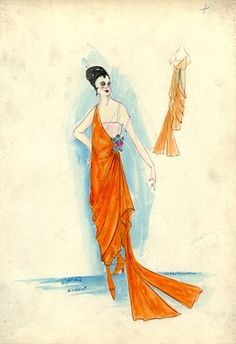 """<em>""""Evening Dress, Callot Soeurs, 'Ophelia', 1917. Orange tea length dress, asymmetrical side drape ending in split train; one shoulder sleeveless bodice in orange, white square cut bodice underneath with short sleeve; bouquet of roses attached to drape at waist. (Bendel Collection, HB 026-08)""""</em>, 1917. Fashion sketch, 12.25 x 8.5 in (31.1 x 21.6 cm). Brooklyn Museum, Fashion sketches. (Photo: Brooklyn Museum, SC01.1_Bendel_Collection_HB_026-08_1917_Callot_SL5.jpg"""
