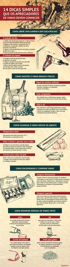 Dicas para todas as necessidades - relacionadas com vinho, claro. Alguns  exemplos  como abrir uma garrafa sem saca-rolhas, como refrescar  rapidamente o ... 13fa2c2bd4