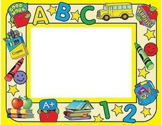 there are six simple words that you can use Preschool Name Tags, Toddler Preschool, Borders For Paper, Borders And Frames, Preschool Procedures, School Border, School Frame, Kids Background, Powerpoint Background Design