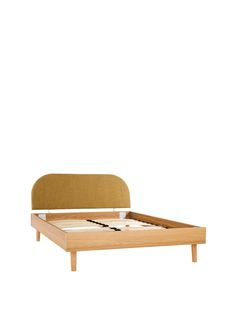 Contemporary Scandinavian Style wooden bed frame with a feature retro upholstered headboard and turned wooden legs.Double bed size: H 196.6, W 142.6, d 89 cm.King size bed: H 205, W 158.5, D 89 cm. Mattress Guide: Sweet Dreams Value Comfort Mattress ((2BFHF).No turn. Panel quilting. Depth: 16 cm. Soft. Airsprung Luxury Quilted Mattress (2BFG8).12.5g open coil spring unit; insulator pad. Damask cover and quilted borders. Depth: 19 cm. Medium. Airsprung Memory Comfort (2BFJ5).12.5g unframed…
